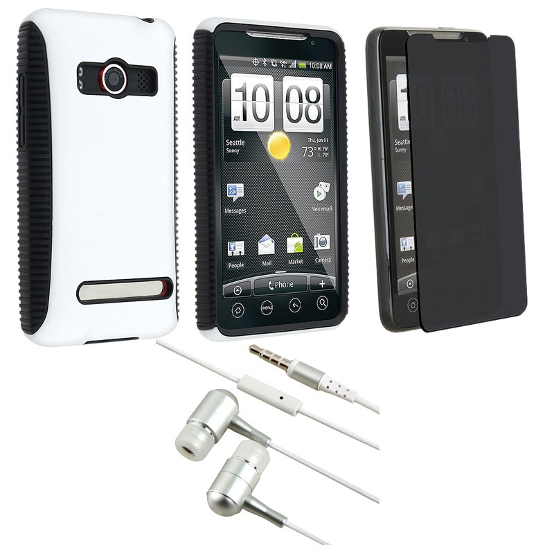 White Hybrid TPU Case/ Privacy Screen Protector/ Headset for HTC EVO 4G