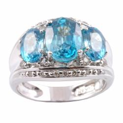 Michael Valitutti 14k Gold Blue CZ and 1/4ct TDW Diamond Ring (I-J, I1-2)