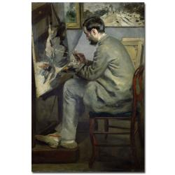 Pierre Renoir 'Frederic Barille at his Easel 1867' Canvas Art - Thumbnail 0