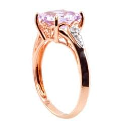 Michael Valitutti 14k Pink Gold Rose de France Amethyst and Diamond Ring