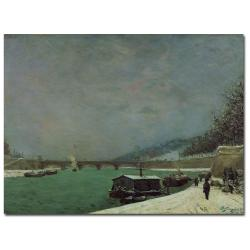 Paul Gauguin 'The Seine at Pont d'lena Winter' Canvas Art - Thumbnail 0
