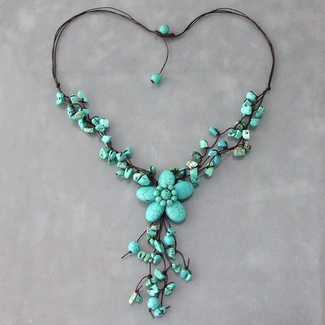 Handmade Reconstructed Turquoise Flower Cluster Necklace (Thailand)