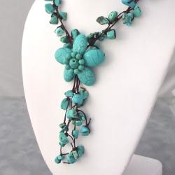 Handmade Reconstructed Turquoise Flower Cluster Necklace (Thailand) - Thumbnail 1