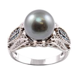 Michael Valitutti 14k Gold Tahitian Pearl and 1/4ct TDW Diamond Ring (10-10.5 mm) (I-J, I1-I2)
