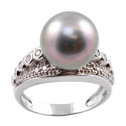 Michael Valitutti 14k Gold Tahitian Pearl and 1/2ct TDW Diamond Ring (12-12.5 mm) (I-J, I1-I2)