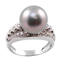 Michael Valitutti 14k Gold Tahitian Pearl and 1/2ct TDW Diamond Ring (12-12.5 mm) (I-J, I1-I2)