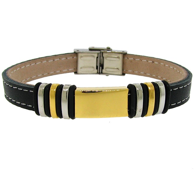 Tri-color Stainless Steel and Black Leather Men's Bracelet