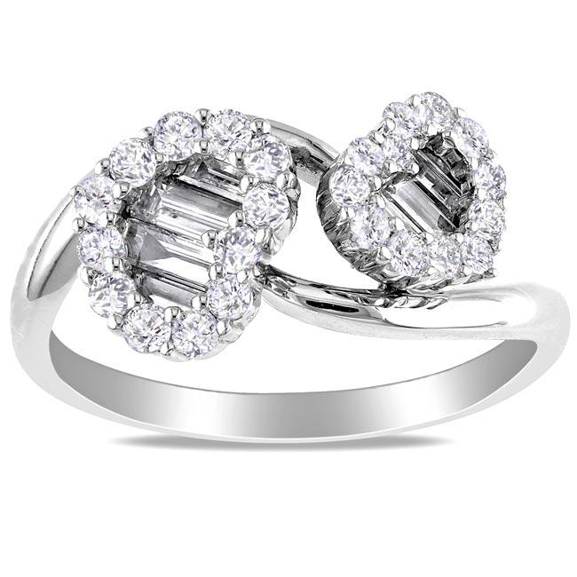 Miadora 18k White Gold 7/8ct TDW Diamond Heart Ring (G-H, SI1-SI2)