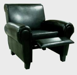 Black Leather Accent Recliner Club Chair - Thumbnail 1