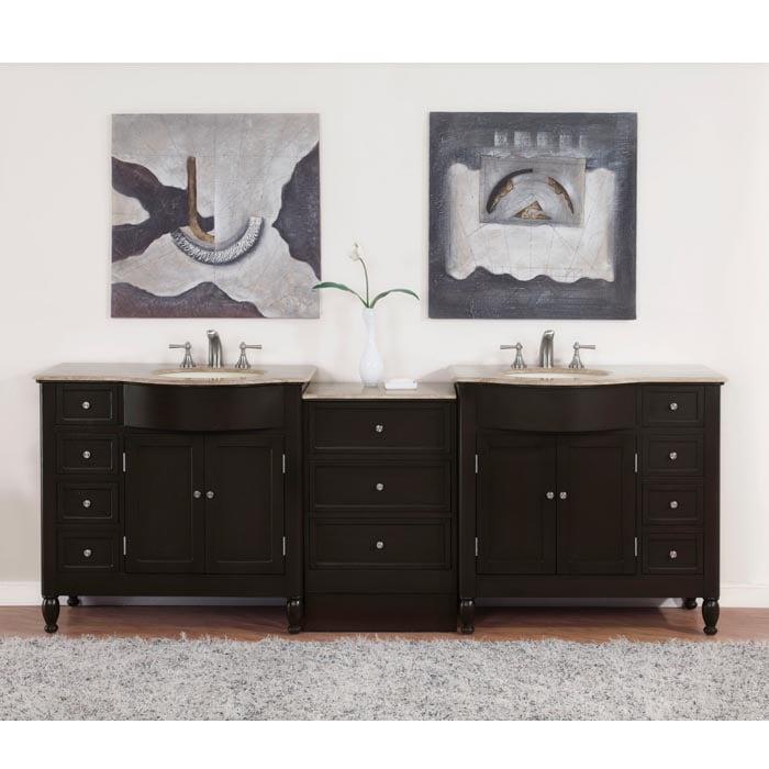 90 Inch Double Sink Bathroom Vanity: Shop Silkroad Exclusive 95-inch Travertine Stone Top