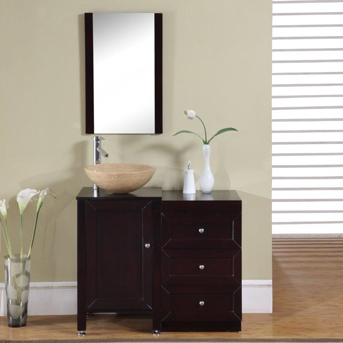 Silkroad Exclusive 37-inch Modern Bathroom Stone Vessel Vanity