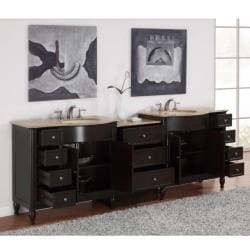 Silkroad Exclusive 95-inch Travertine Stone Top Double Vanity - Thumbnail 1