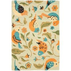 Safavieh Handmade Blossom Swallow Sage Wool Rug (4' x 6') - 4' x 6' - Thumbnail 0