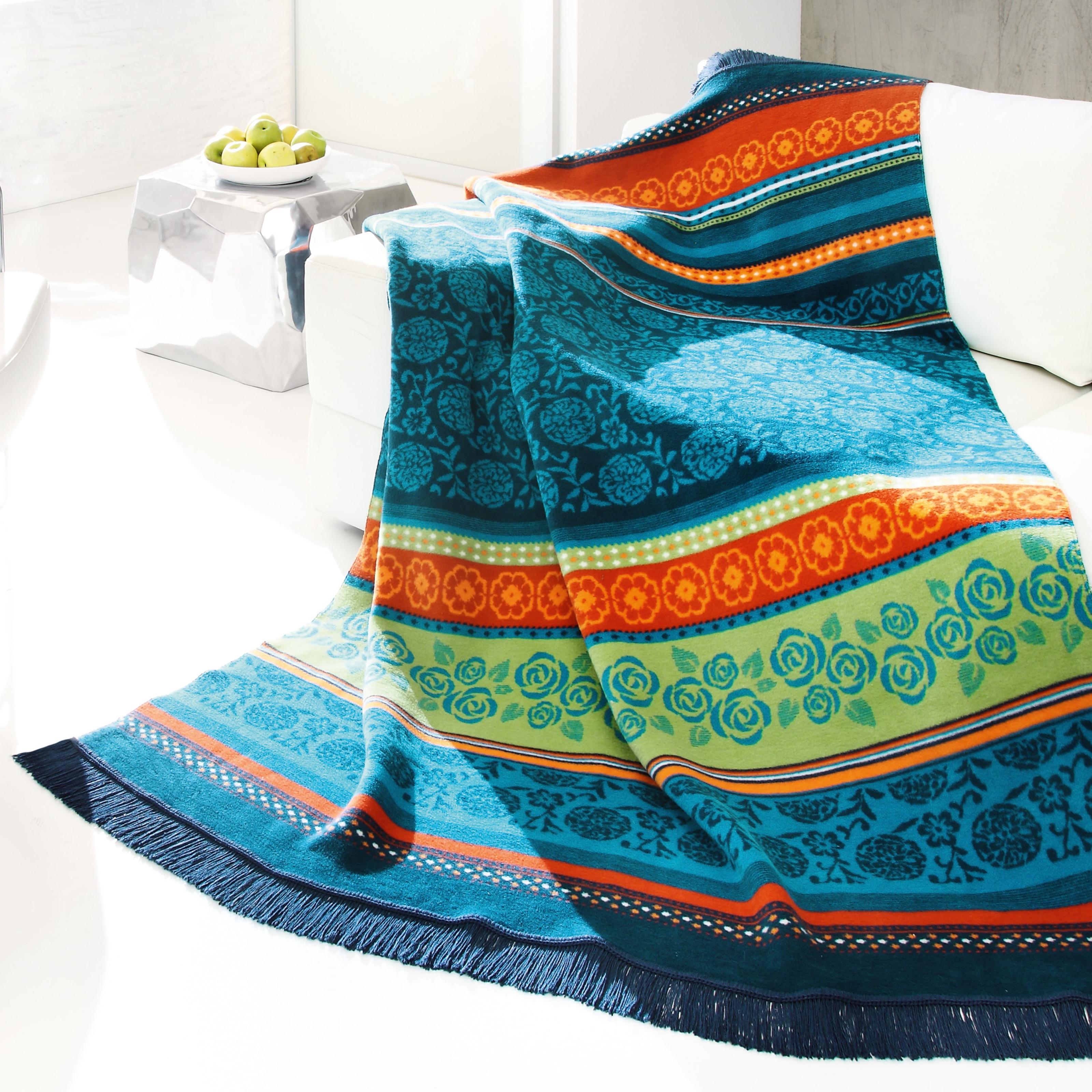 Bocasa Oleana Blue Woven Throw Blanket