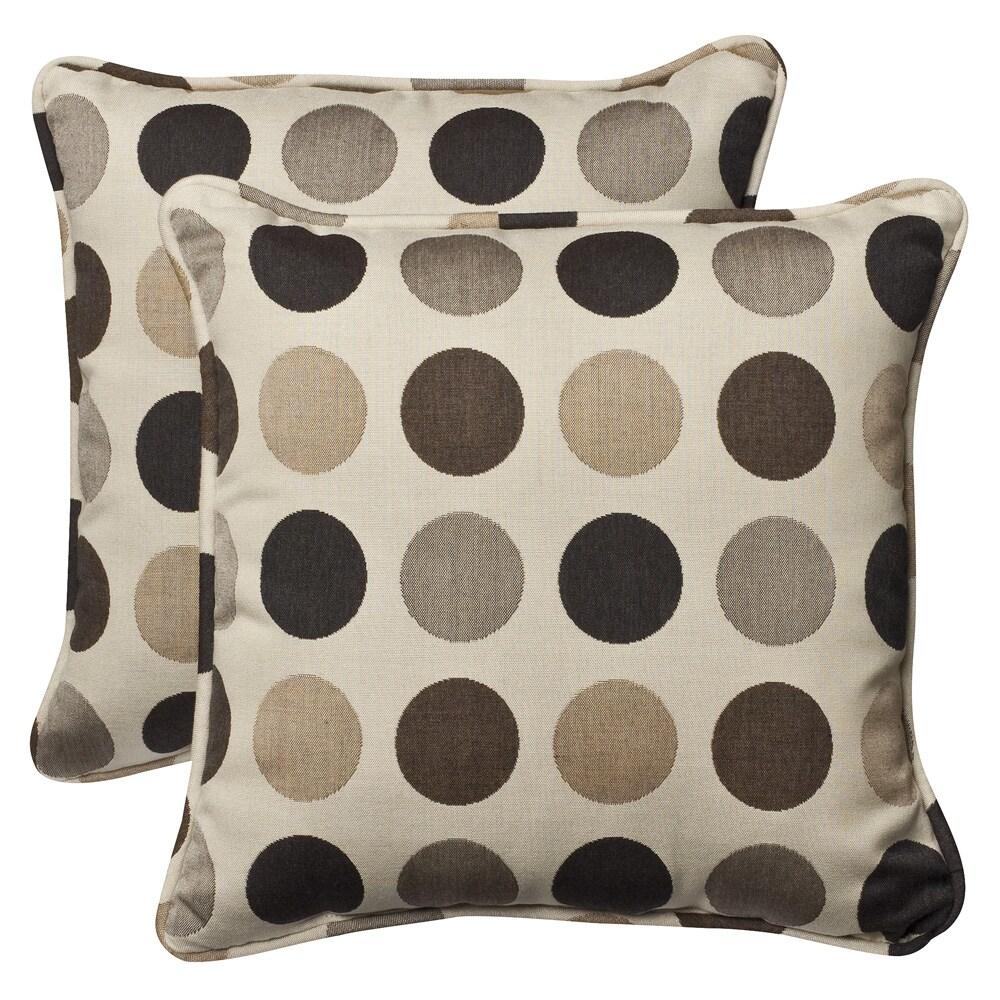 Pillow Perfect Outdoor Brown/Beige Polka Dot Toss Pillows with Sunbrella Fabric (Set of 2)