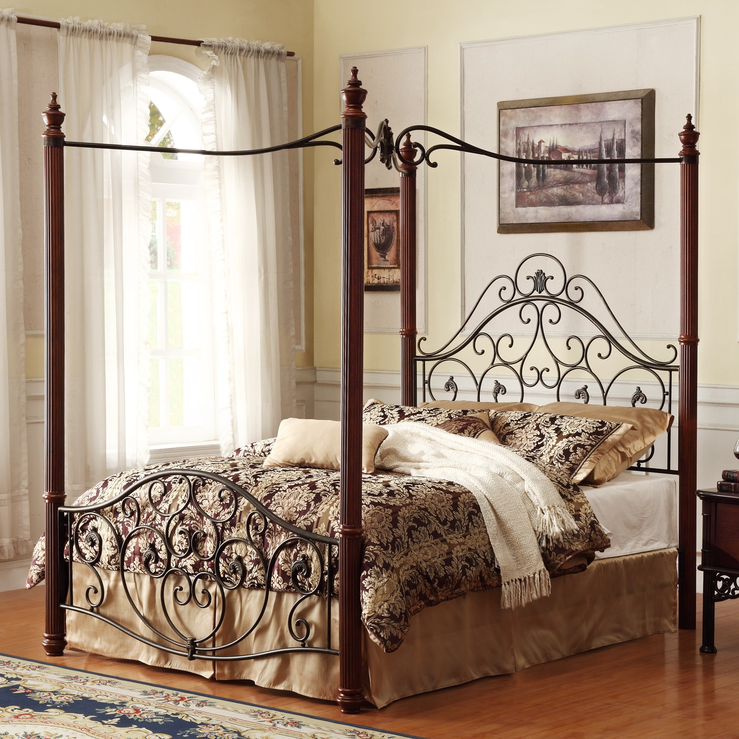 Napa queen size black canopy bed free shipping today overstock com - Madera Deco Full Size Canopy Metal Bed