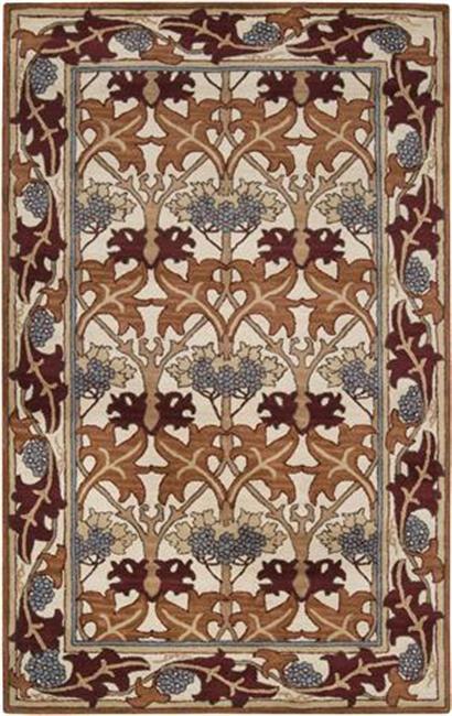 Hand-tufted Ivory/Orange Novelty Toulouse New Zealand Wool Rug (8' x 11')