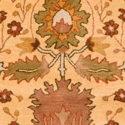 Hand-tufted Gold Bordered Novelty Nantes New Zealand Wool Rug (8' x 11')