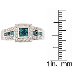 D'Yach 14k White Gold 4/5ct TDW Blue and White Diamond Ring (G-H, I1-I2) - Thumbnail 2