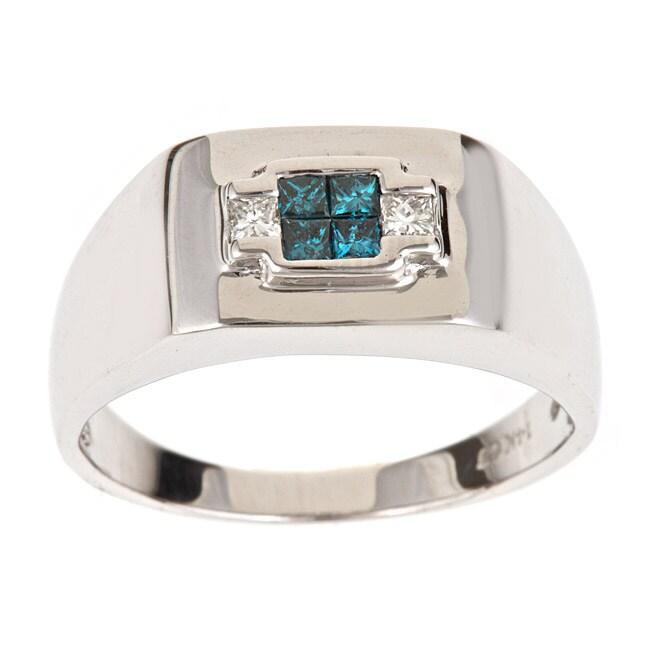 D'Yach 14k White Gold Men's 3/8ct TDW Blue and White Diamond Ring (H-I, I1-I2)