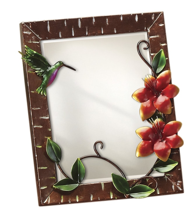 Small Metal Hummingbird Table Mirror