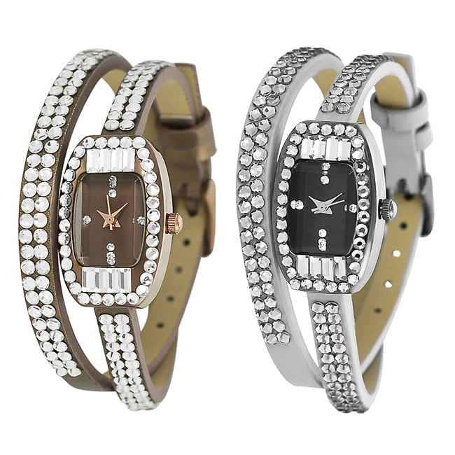 Geneva Platinum Women's Rhinestone-accented Faux Leather Watch