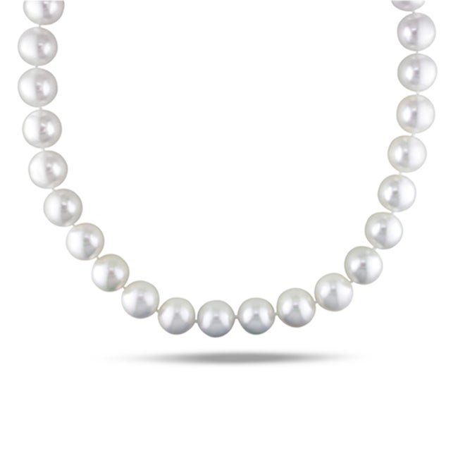 Miadora 14k White Gold South Sea Pearl and 1/10ct TDW Diamond Necklace (H-I, I1-I2)