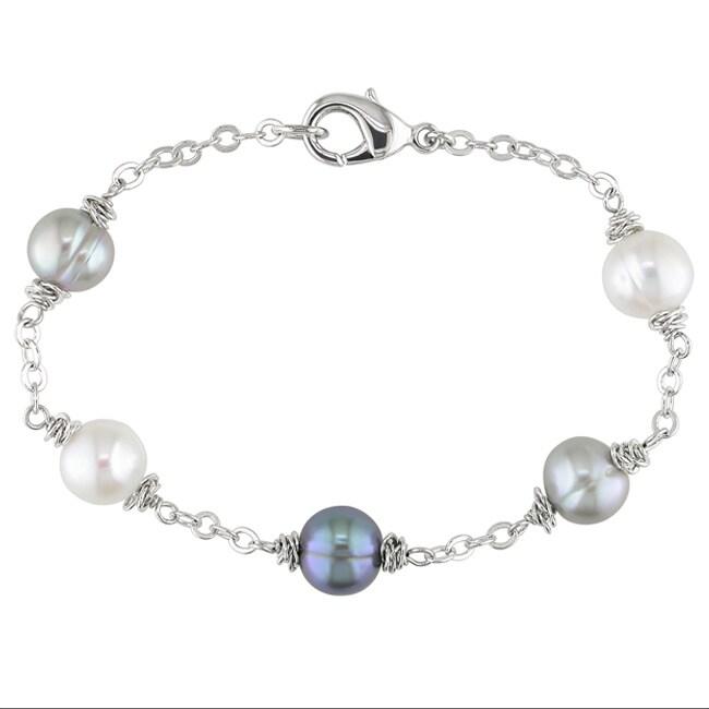 Miadora Silvertone Freshwater Pearl Bracelet (8-9 mm)