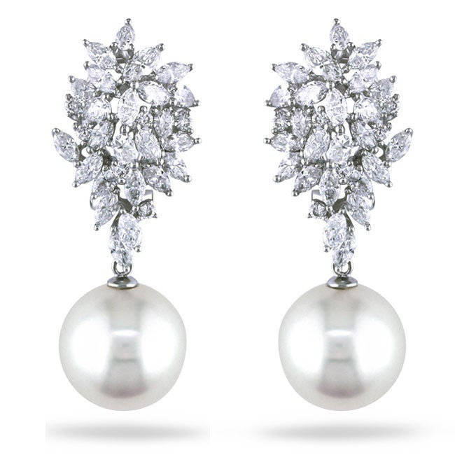 Miadora Signature Collection 18k White Gold 3 5/8ct TDW Diamond and Pearl Earrings (13.5-14 mm)(G-H,SI1-SI2)