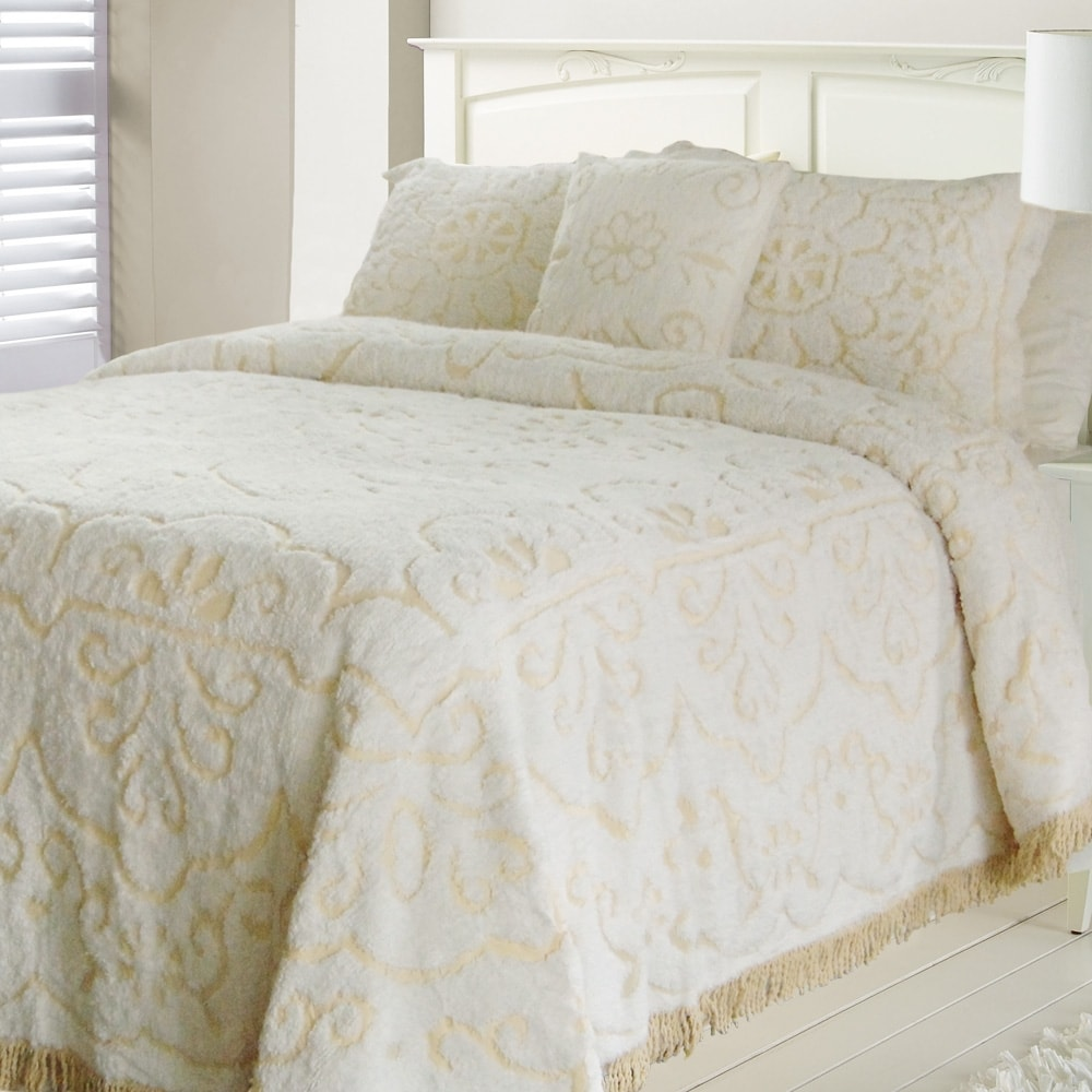 39 jessica 39 chenille white linen queen size bedspread free shipping today. Black Bedroom Furniture Sets. Home Design Ideas