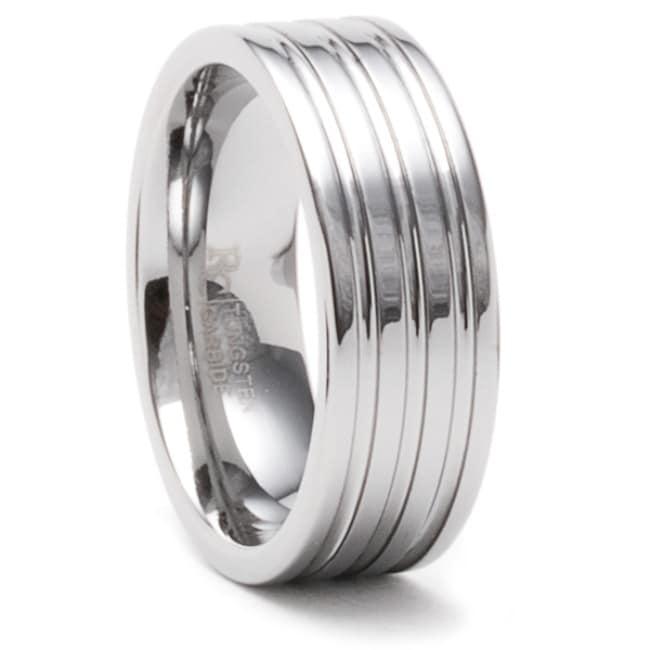 Men's Tungsten Carbide Triple-groove Wedding Band (8 mm)