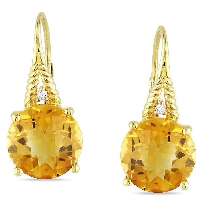 Miadora Yellow Silver Citrine and Diamond Accent Earrings (G-H, I3)