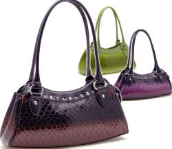 Dasein Patent Leatherette Embossed Snake Skin Shoulder Bag with Stud Accents