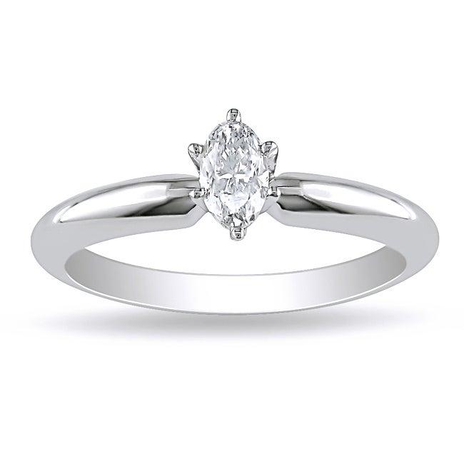 Miadora 14k White Gold 1/4ct TDW Marquise Diamond Solitaire Ring (G-H, I1)