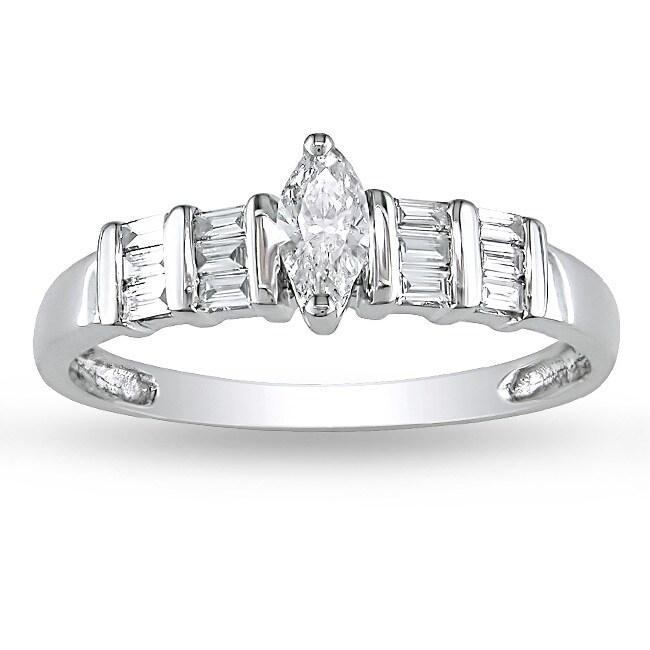 Miadora 14k White Gold 3/8ct TDW Marquise Diamond Ring (G-H, I1-I2)