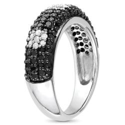 Miadora Sterling Silver 1ct TDW Black and White Diamond Ring - Thumbnail 1