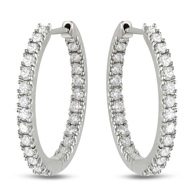 67479d87e507c Miadora Signature Collection 14k White Gold 3/4ct TDW Diamond Hoop Earrings  (G-H, SI1-SI2)