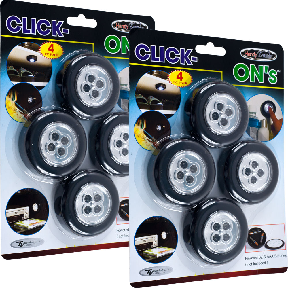 Click-On Stick up LED Lights by Super Bright (Set of 8)