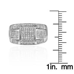 Sterling Silver 3/4ct TDW White Diamond Ring (G-H, I1-I2) - Thumbnail 2