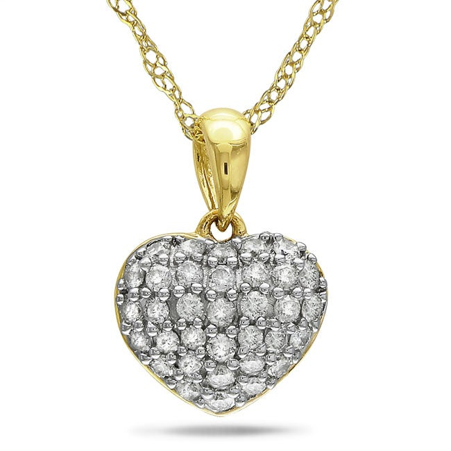 14k Yellow Gold 1/4ct TDW Diamonds Heart Necklace