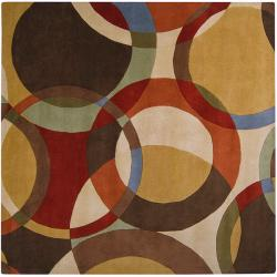Hand-tufted Contemporary Multi Colored Circles Brighouse Wool Geometric Rug (8' Square)