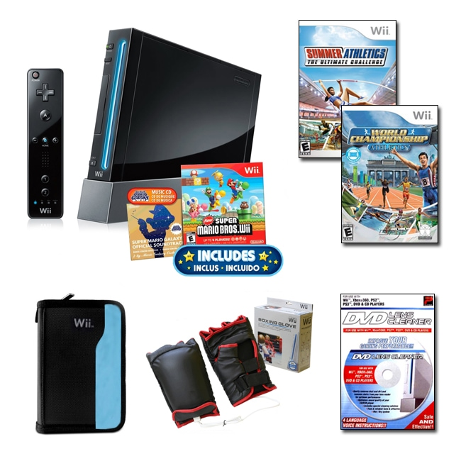 Nintendo Wii Black Super Mario Bundle with 3 Games and More