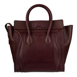 Celine Burgundy Mini Luggage Tote Bag