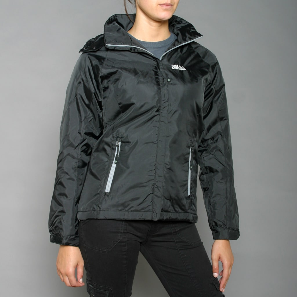First Down Women's Black Hooded Tech Jacket