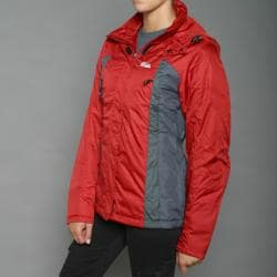 First Down Women's Red Two-tone Hooded Tech Jacket - Thumbnail 1