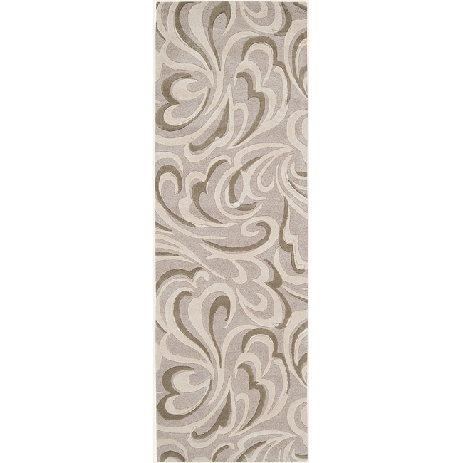 Candice Olson Hand-tufted Contemporary Ivory/Beige Abstract Livigno New Zealand Wool Abstract Rug (2'6 x 8')