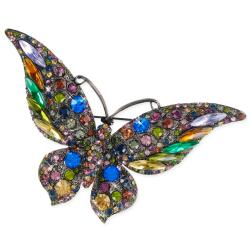 Multi-color Crystal Stones Butterfly Brooch - Thumbnail 2