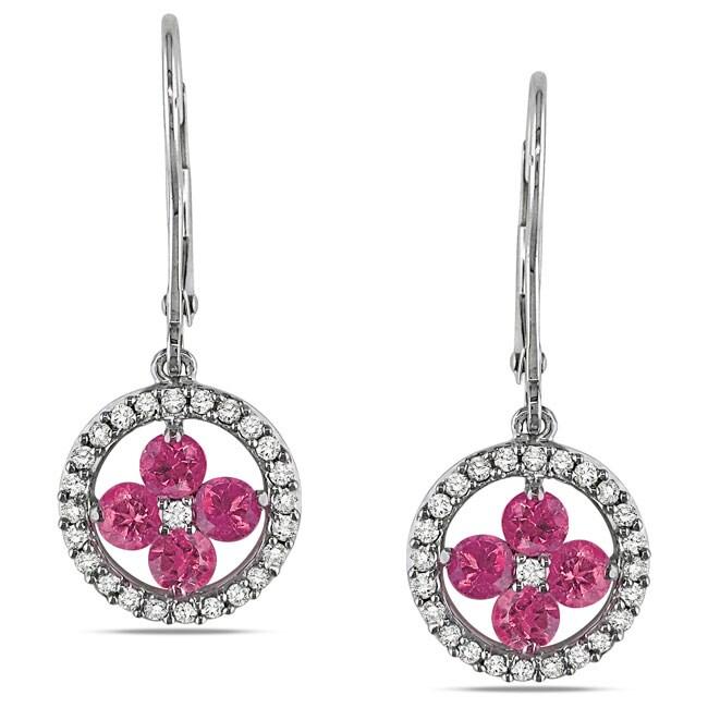 Miadora 14k White Gold 1ct TDW Pink and White Diamond Earrings