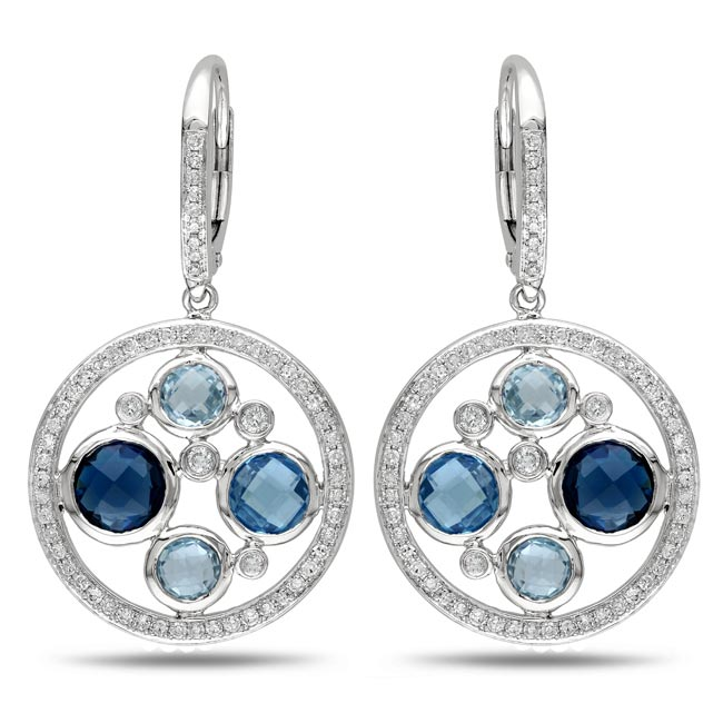 Miadora Signature Collection 14k White Gold 3 5/8 ct TGW Multi Topaz 3/4 ct TDW Earrings (G-H, SI1)