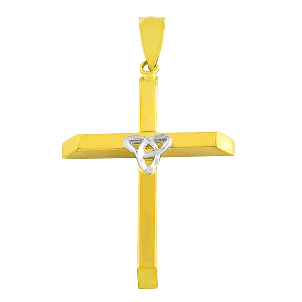 Fremada 14k Two-tone Gold Trinity Cross Necklace